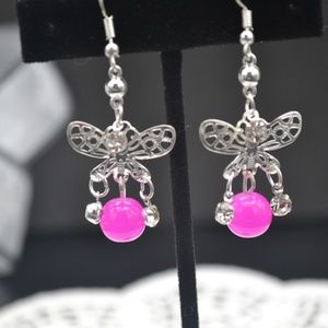 Jewelry - 🔥Crystal Butterfly Pink Fashion Earring🔥